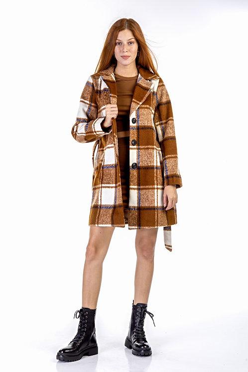 Καφέ καρό παλτό