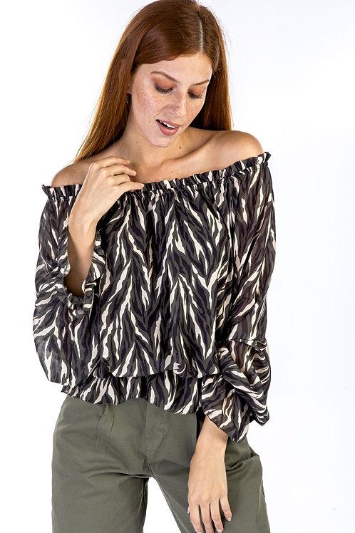 Μακρυμάνικη μπλούζα με ακάλυπτους ώμους