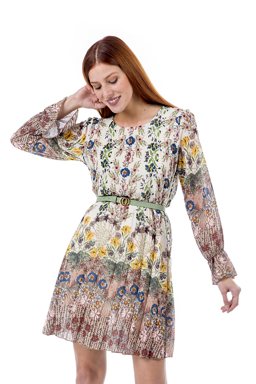 Μίνι πλισέ φλοράλ φόρεμα