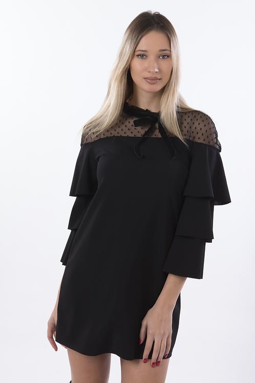 Μίνι φόρεμα με διαφάνεια και φραμπαλά