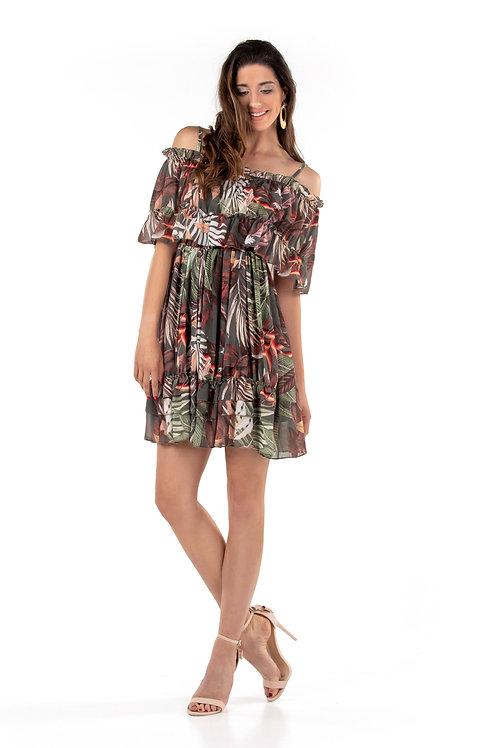 Floral φόρεμα με ακάλυπτους ώμους