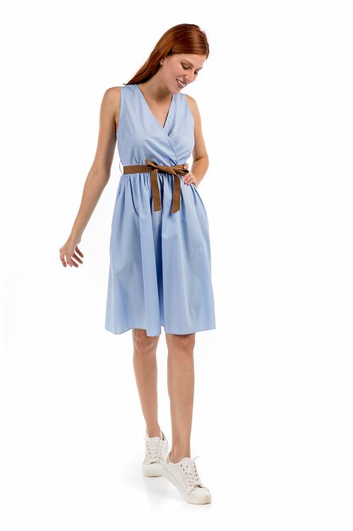 Κρουαζέ φόρεμα με καφέ ζώνη