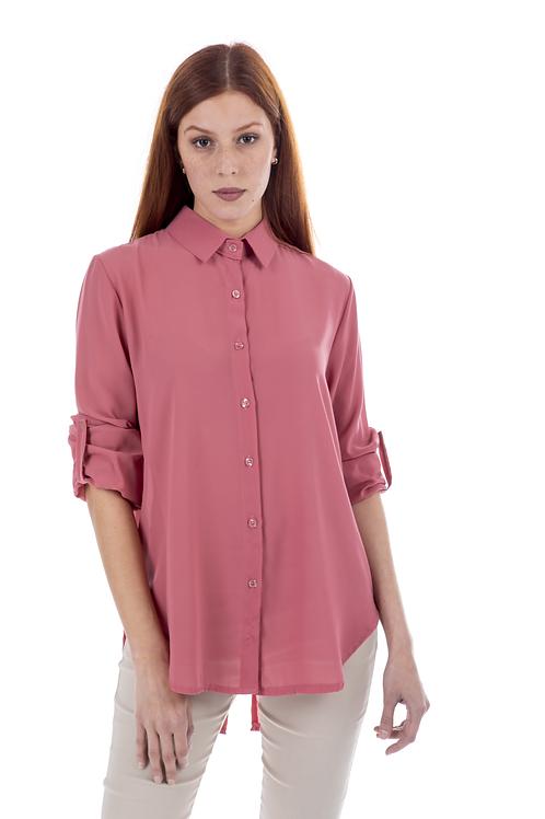 Ασσύμετρο πουκάμισο με φερμουάρ πίσω