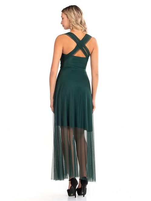 Μάξι εξώπλατο τούλινο φόρεμα