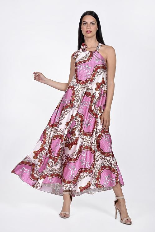 Φλοράλ φόρεμα με δέσιμο στο λαιμό