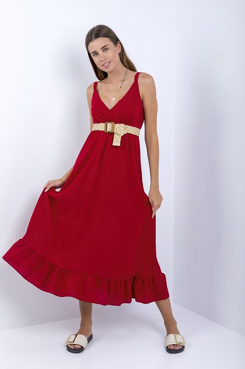 Μονόχρωμο κρουαζέ φόρεμα