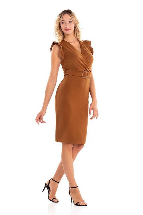 Μίντι φόρεμα με ζώνη και βολάν στο μανίκι