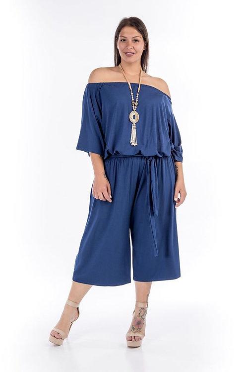 Ολόσωμη φόρμα ζιπ κιλοτ με ακάλυπτους ώμους