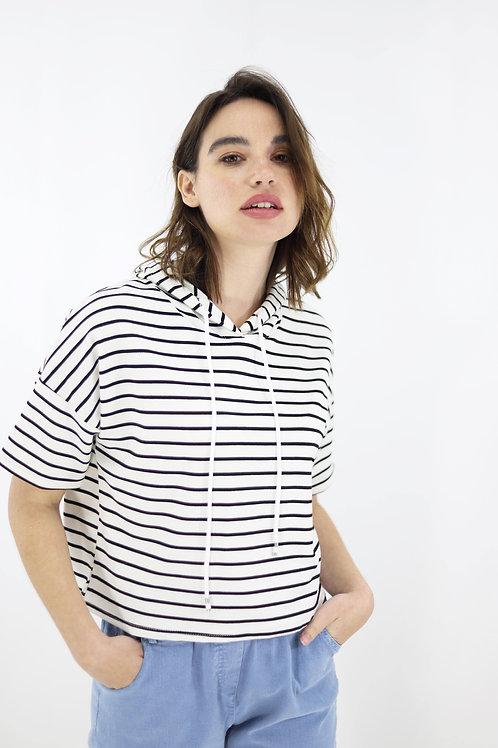 Ριγέ μπλούζα με κουκούλα