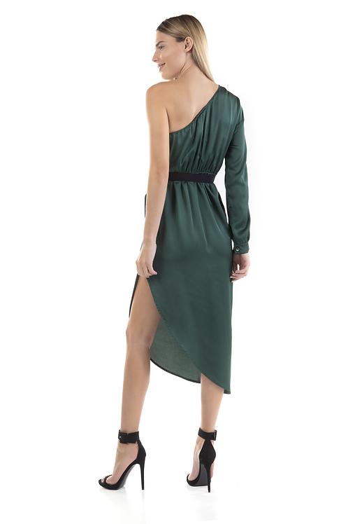Φόρεμα τύπου σατέν με τον ένα ώμο έξω
