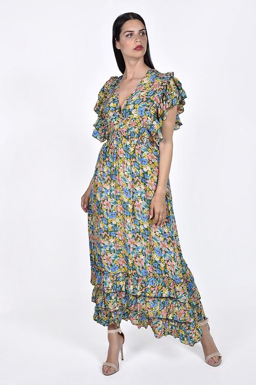 Floral φόρεμα με βολάν