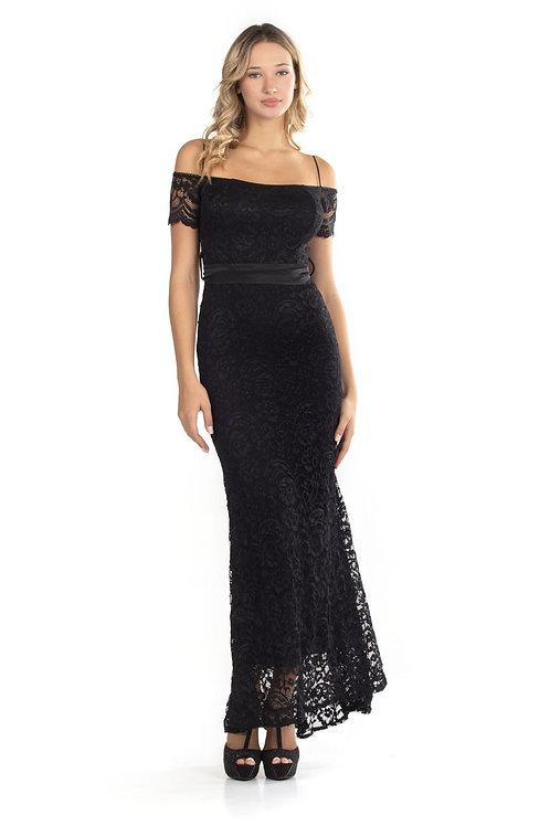 Μακρύ φόρεμα με δαντέλα και ακάλυπτους ώμους