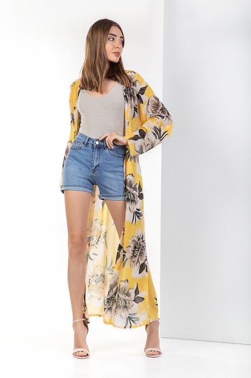 Kimono φλοράλ με ζώνη