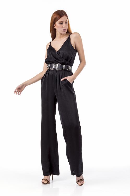 Μαύρη ολόσωμη φόρμα τύπου σατέν