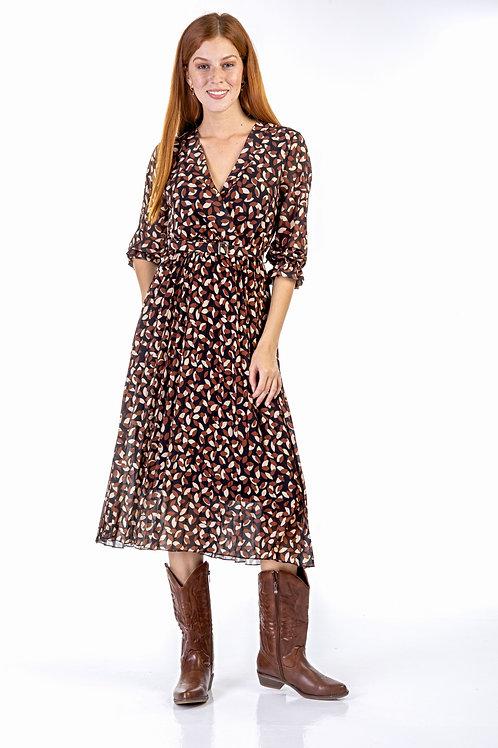 Εμπριμέ φόρεμα με 3/4 μανίκι