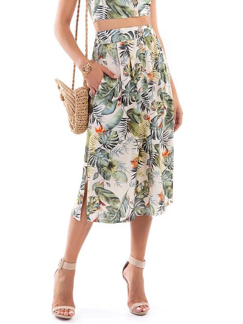 Μίντι φλοράλ φούστα με κουμπιά
