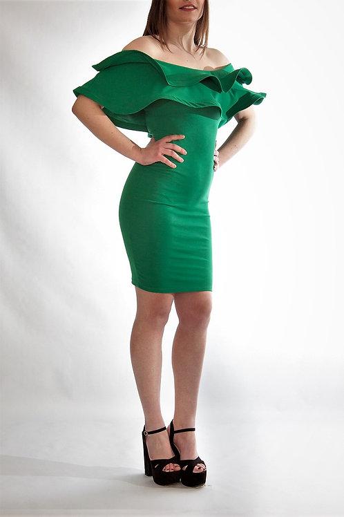 Φόρεμα στράπλες με φραμπαλά