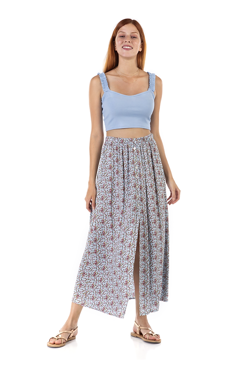 Floral φούστα με κουμπιά