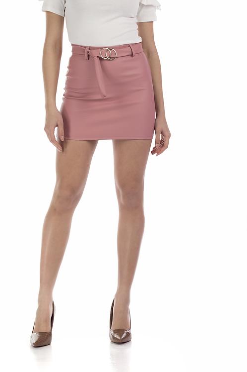 Μίνι δερματίνη φούστα με ζώνη