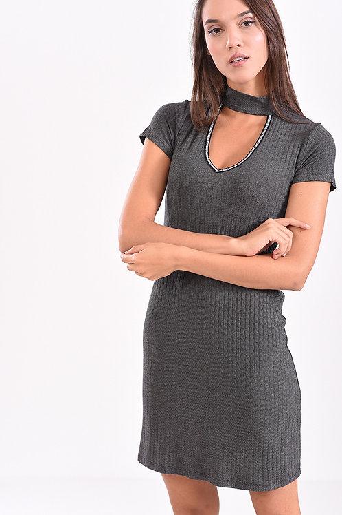 Φόρεμα ριπ κοντομάνικο