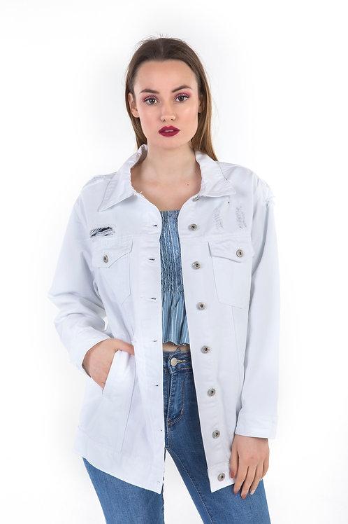Oversized jean jacket Λευκό