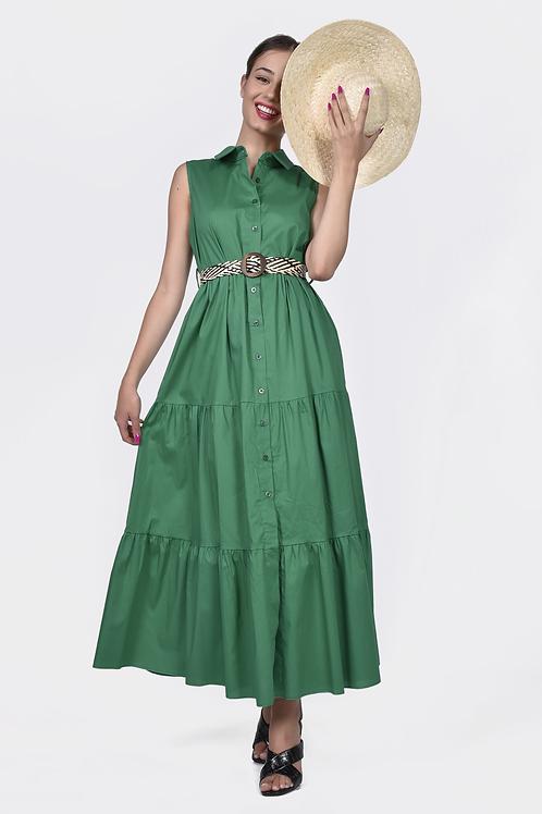 Αμάνικο φόρεμα με ψάθινη ζώνη