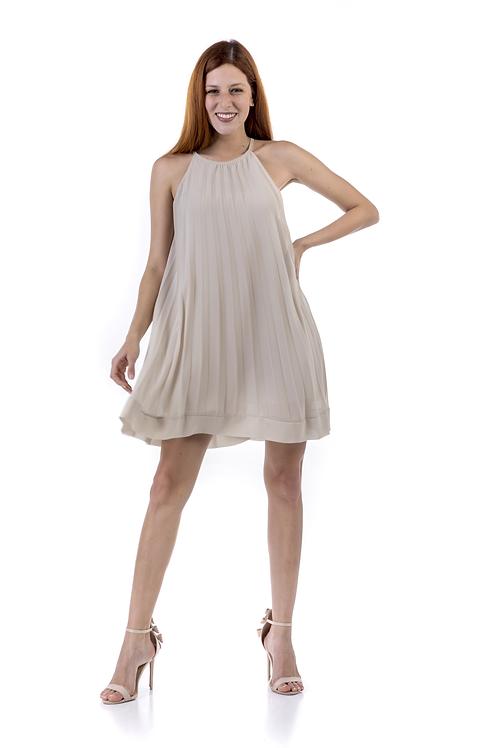 Μονόχρωμο μίνι πλισέ φόρεμα