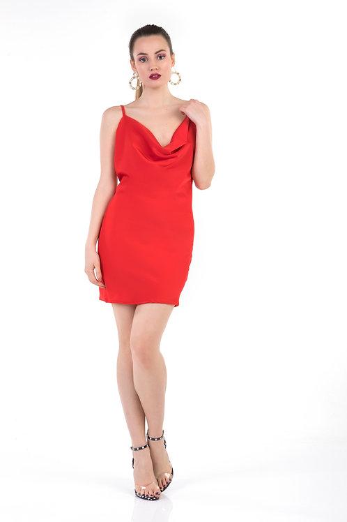 Εξώπλατο σατέν φόρεμα