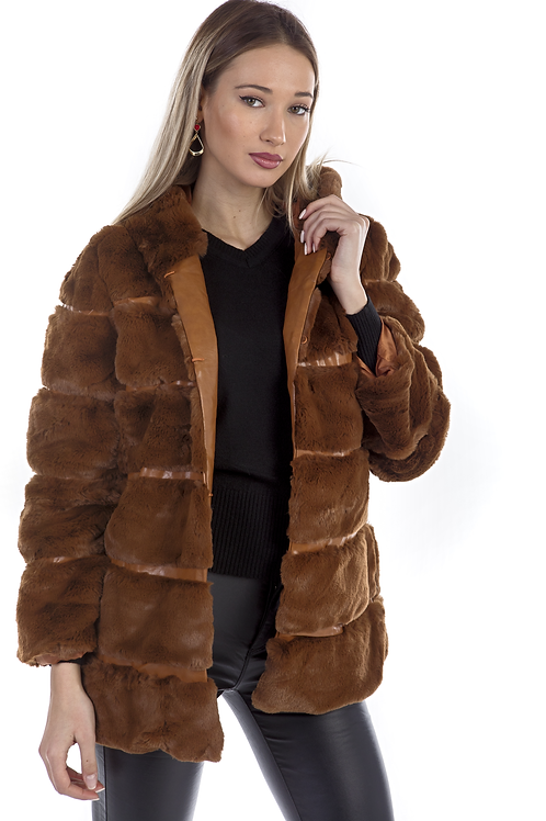 Ημίπαλτο γούνινο με κουκούλα