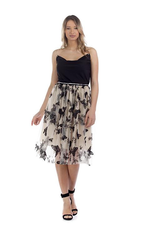 Μίντι τούλινη φούστα με πεταλούδες