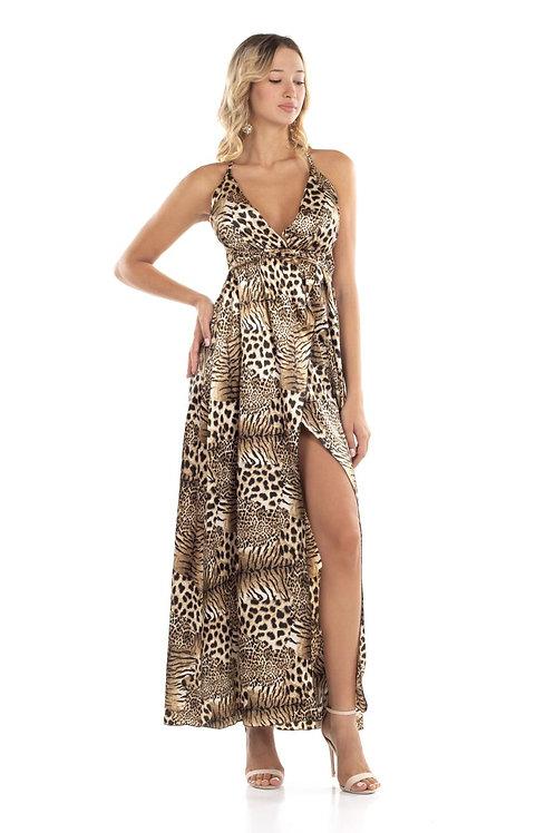 Animal print φόρεμα τύπου σατέν με σκίσιμο