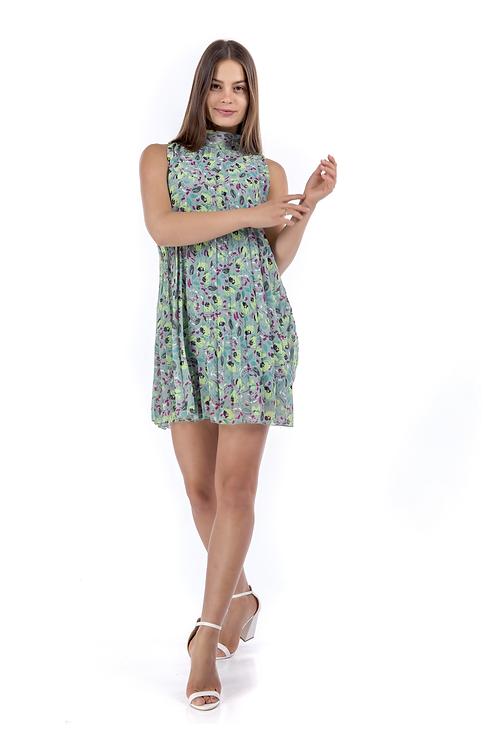 Μίνι φλοράλ πλισέ φόρεμα