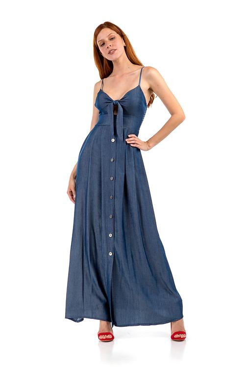 Τζιν φόρεμα που δένει στο μπούστο