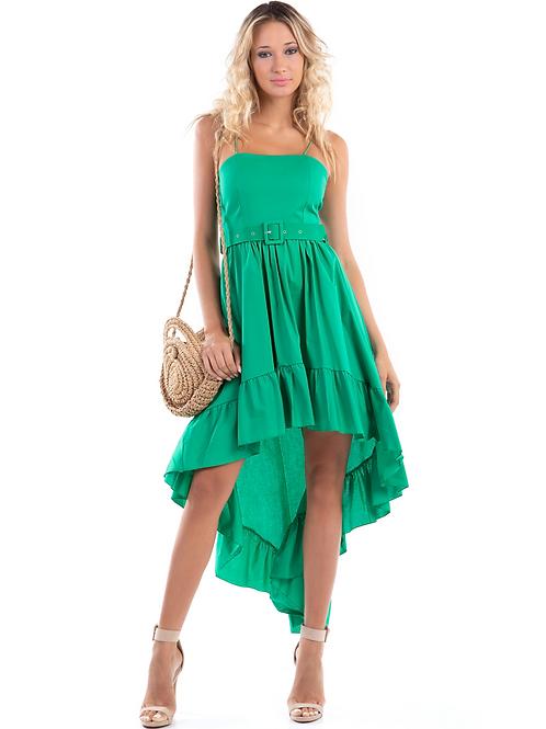 Μονόχρωμο ασύμμετρο φόρεμα