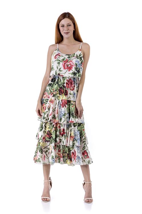Μίντι φλοράλ φόρεμα με φραμπαλά