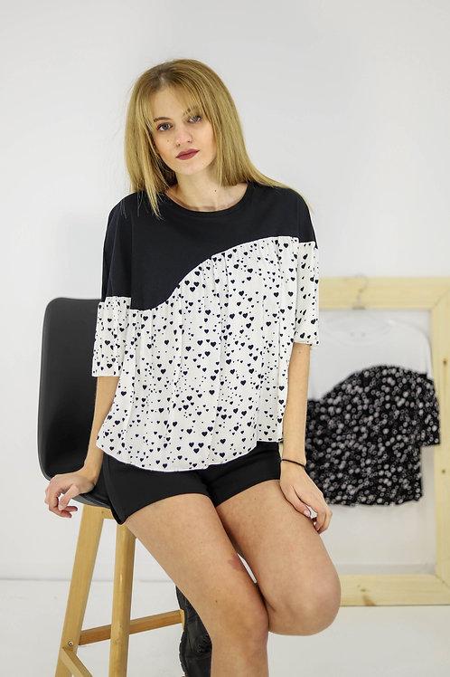 Δίχρωμη μπλούζα με καρδούλες