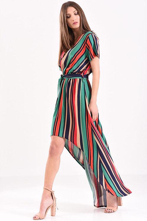 Φόρεμα κρουαζέ ριγέ