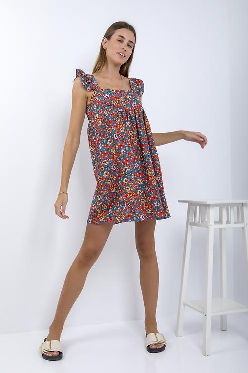 Floral φόρεμα με βολάν στο μανίκι