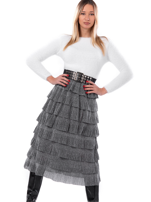 Lurex φούστα με φραμπαλά