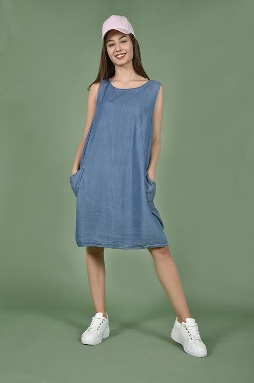 Denim jean dress με τσέπες