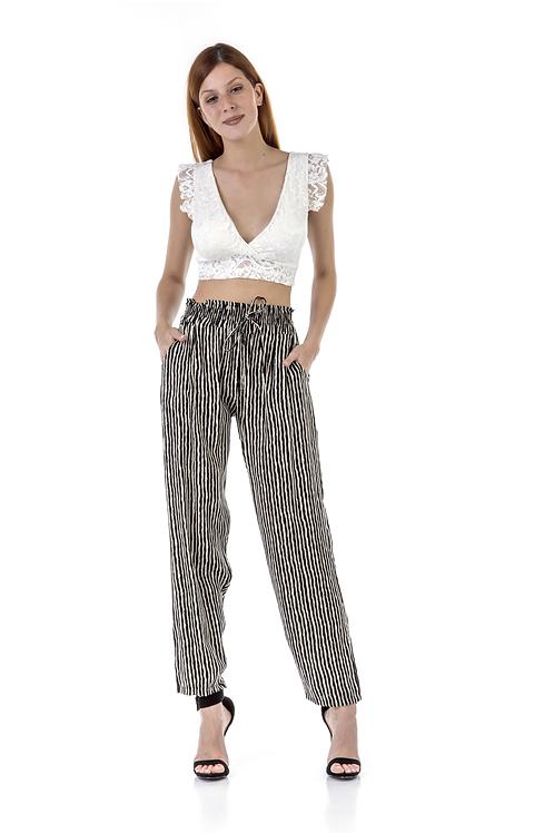 Ριγέ παντελόνι με τσέπες