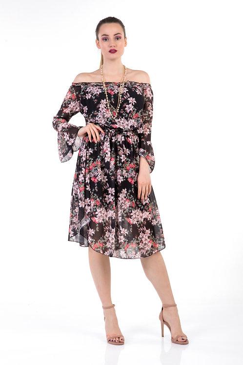 Φλοράλ  φόρεμα με ακάλυπτους ώμους