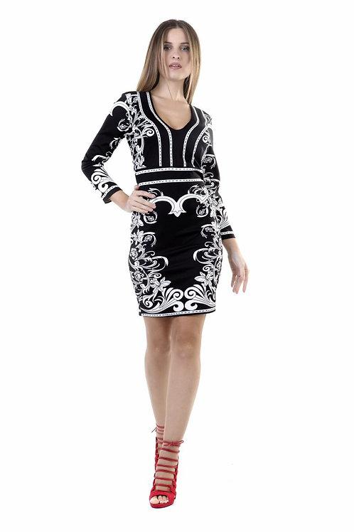 Φόρεμα μαυρόασπρο