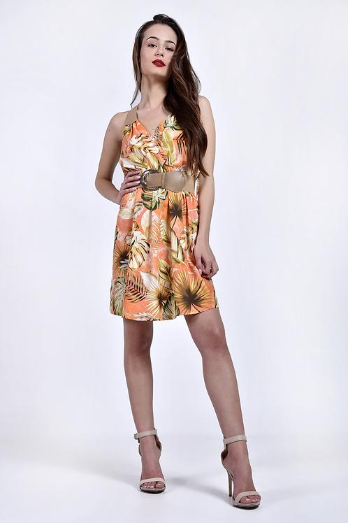 Φλοράλ φόρεμ με δερμάτινες λεπτομέρειες