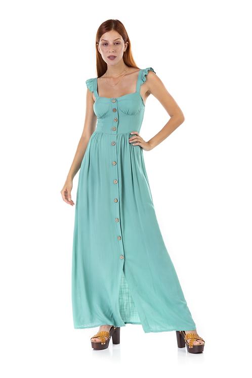 Μακρύ φόρεμα με βολάν στο μανίκι και φραμπαλά