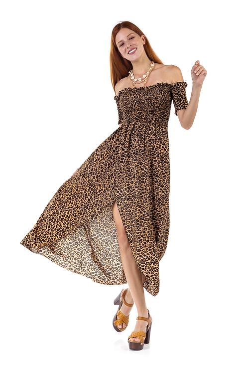 Λεοπάρ φόρεμα με ακάλυπτους ώμους