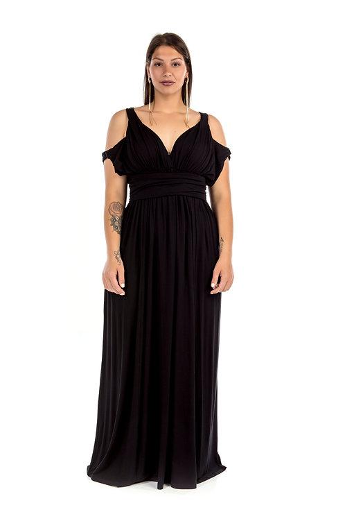 Μακρύ φόρεμα με έξω τους ώμους