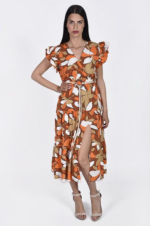 Floral φόρεμα με φραμπαλά στο μανίκι
