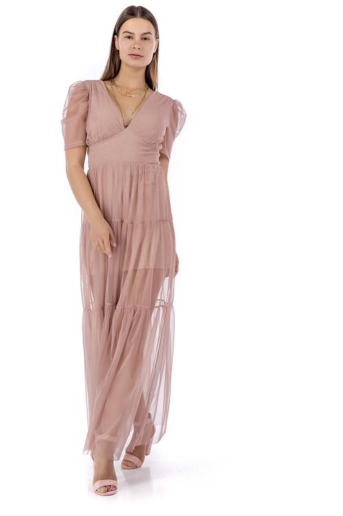 Lurex φόρεμα με τούλι