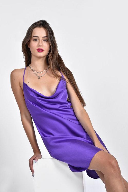 Mini σατέν φόρεμα με χιαστί πλάτη